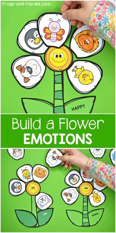 This printable activity will help students recognize emotions and different emotional expressions. They will place the flower petals around the flower center that represents matching emotion! Fun emotions activity for preschool, pre-k, kindergarten and first grade. #emotions #feelings #socialskills #emotionsactivities