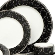 Mikasa Elegant Scroll Black Dinnerware, Retired - Last Chance