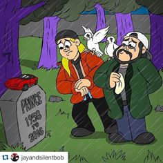 #Repost @jayandsilentbob with @repostapp.  The music of #Prince was essentially the soundtrack to my life. My first girlfriend introduced me to his work so any teenage heavy petting session was scored by the lusty purple pipes of his Royal Badness. #1999 and #PurpleRain were some of the first albums I ever bought. In 1989 his #Batman soundtrack never left my rack system. When we made #Clerks in 1993 the Love Symbol album was on a constant loop in my car's cassette player. @samosier & I were…