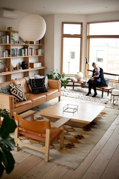 50 Examples Of Beautiful Scandinavian Interior Design - UltraLinx - Home Design Bohemian Living Rooms, Home Living Room, Living Room Furniture, Living Room Decor, Living Spaces, Furniture Plans, Wood Furniture, Dining Room, Apartment Living