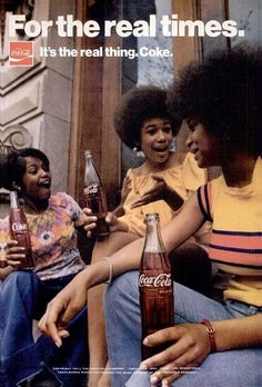 """70s Coke """"It's The Real Thing"""" Ad - Ladies on steps with afros drinking Cokes"""