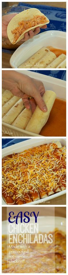 Easy Chicken Enchiladas made with precooked rotisserie chicken. Great for the fr… Easy Chicken Enchiladas made with precooked rotisserie chicken. Great for the freezer and gluten free when you use corn tortillas! Freezer Meals, Easy Meals, Cheap Meals, Chicken Freezer, Freezer Cooking, Easy Cooking, Great Recipes, Favorite Recipes, Dinner Recipes