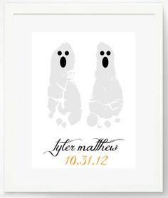 "Halloween Kids Keepsake Gift for Mom & Dad or Their Grandparents:  Ghost 8.5"" x 11"" Personalized Baby Footprint Artwork Print by Pitter Patt..."