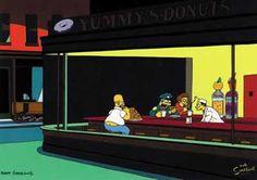 Simpsons Nighthawks (Original by Edward Hopper)