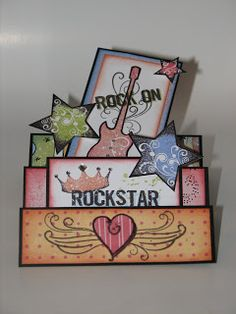 Just playing with my new You Rock stamp set...  I had made one of these stair-step cards before at an SU card class, but this is my first t...