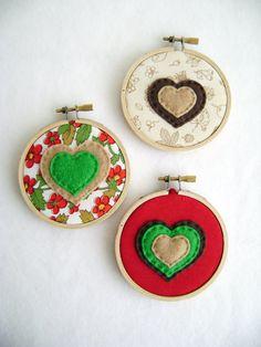 Fabric Wall Art - Wheat Fields - Bubbles of Love - Embroidery Hoop Hearts. $18.00, via Etsy.