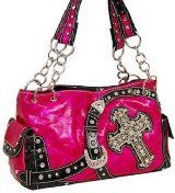 Hot Pink Belted Cross Purse with Rhinestone
