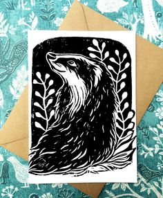 Set of 5 Badger Greeting Cards - 4x5 Badger Linocut Illustration, Animals, Badger Card, Nature Blank Card by LilyLivingstonArt on Etsy Stamp Printing, Screen Printing, Woodland Creatures, Woodland Animals, Illustration Animals, Stamp Carving, Linoprint, Animal Projects, Linocut Prints