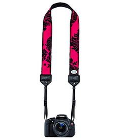 """Mod Straps Hot Pink Victorian Classic Camera Strap:   MOD classic straps are designer/boutique straps, for both SLR cameras, both digital and film. Their unique designs stand out from the crowd of plain, black, synthetic looking products that dominate the strap category. Classic straps are cut from the best fabrics available, and are backed with a soft """"minky"""" backing. Strong connector ends on the Classic straps make these straps a must have for the fashionable photographer who needs s..."""