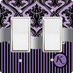 "Rikki KnightTM Letter ""K"" Initial Purple Damask and Stripes Monogrammed Double Rocker Light Switch Plate by Rikki Knight LLC, http://www.amazon.com/dp/B00DD5B7II/ref=cm_sw_r_pi_dp_WUFCsb0ESD6NM"
