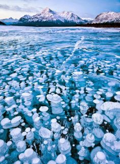 Abraham Lake in Alberta, Canada These magnificent ice bubbles in Abraham Lake are created by methane gas released by the plants at the bottom of the lake.