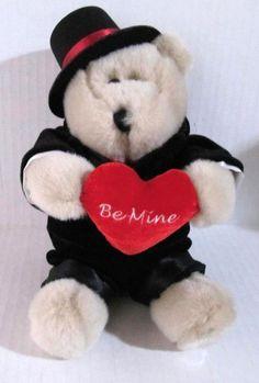 Valentine Bear Be Mine Red Heart Starbucks Bearista 2002 Tuxedo 12 in Plush #StarbucksBearistaBear