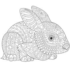 Stock vector of 'Stylized rabbit (bunny, hare), isolated on white background. Freehand sketch for adult anti stress coloring book page with doodle and zentangle elements.'
