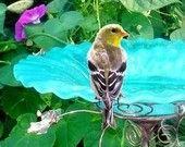 Garden Art BIRD BATH, stained glass, copper, Aqua Blue, home and garden, outdoor, garden stake