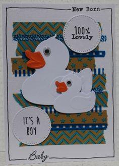 Gemaakt door Joke # Geboortekaart voor een zoon, met badeendjes