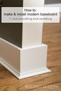 """Installing baseboards, cove moulding, & caulking is part of Home remodeling diy - Instead of reusing our builder grade baseboard, we decided the we wanted a more… go figure """"modern"""" look in our house While I do appreciate that fancy moldings … Baseboard Styles, Baseboard Trim, Baseboard Ideas, Bathroom Baseboard, Home Remodeling Diy, Home Renovation, Kitchen Remodeling, Basement Renovations, Basement Ideas"""
