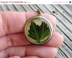 25 Off Sale Real Leaf Resin Necklace Pressed Leaf by KateeMarie, $21.00