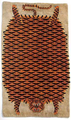 19th Century Tibetan tiger rug.
