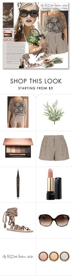 """""""Etsy.com-Up to date-Sponsored Contest-women's elegant Latte/ Lace Top"""" by pentacla ❤ liked on Polyvore featuring Clarins, Parra, 3.1 Phillip Lim, Marc Jacobs, Lancôme, Ancient Greek Sandals, Oliver Peoples, By Terry and Therapy"""