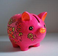 Vintage Pig Bank + Candle Holder Hot Pink Piggy Votive Money Keeper Pottery MCM Figural Takahashi Style 60s Mod Mid Century Japan Flowers