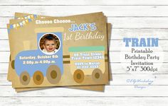 1st Birthday Invitations, Baby Invitations, No Time For Me, Paper Shopping Bag, Rsvp, My Etsy Shop, Birthday Parties, Printables, Train