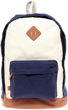 Asos Blue Contrast Canvas Backpack