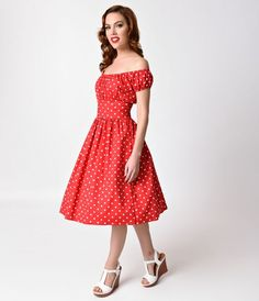 1940s Style Red & White Polka Dot Cap Sleeve Peasant Swing Dress