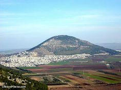 (Jezreel Valley) Mount Tabor--From the Nazareth ridge, Mt. Tabor looms large to the east.  While some tradition ascribes the transfiguration of Jesus to this place, it more likely occurred in the area around Caesarea Philippi.  Deborah and Barak camped on Mt. Tabor with the Israelite army before attacking and defeating Sisera's Canaanite force.