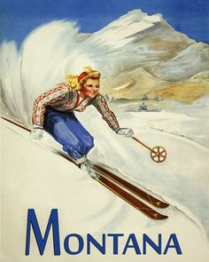 POSTER WINTER SPORT SKI ALTA UTAH MOUNTAINS SKIING USA VINTAGE REPRO FREE S//H