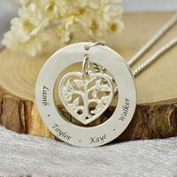 Heart Family Tree Name Necklace Silver Engraved Kids Name Necklace Mother Always Love Her Family Heart Jewelry