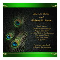 Elegant Emerald Green and Gold Peacock Wedding Custom Invitation Peacock Wedding Invitations, Elegant Invitations, Elegant Wedding Invitations, Custom Invitations, Gold Glitter Background, Emerald Green Weddings, Green And Gold, Wedding Inspiration, Wedding Ideas