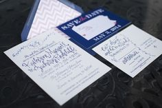 Our save-the-date postcard and wedding invitation! Save-the-date by DefineDesign11 (https://www.etsy.com/shop/DefineDesign11) and invitations by Grey Snail Press (https://www.etsy.com/shop/GreySnailPress). Photo by Palermo Photo.