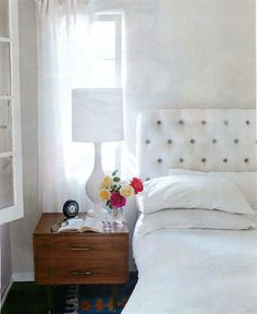 tufted white headboard