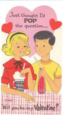 Vintage Valentine Card Malt Shop Boy and Girl Die-Cut for Children Kids Child #retro #valentine