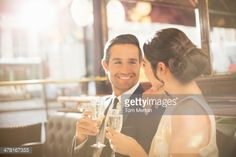 Stock Photo : Couple drinking champagne in restaurant