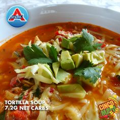 This low-carb soup is packed with chicken, chopped veggies and many flavorings including diced jalapenos. Fine for all phases of the plan.