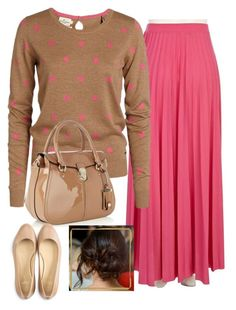 """Bubblegum and polka dots"" by modestlyme97 ❤ liked on Polyvore featuring River Island, Karen Millen and Cole Haan"