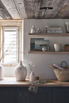 Our Buckland floating shelf. Simple design. Panelled ceiling