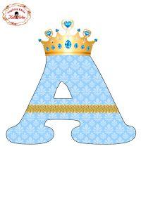 Alfabeto con Arabescos Celestes y Corona Dorada.
