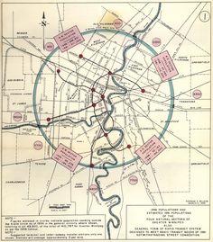 Historical Map: General Form of Rapid Transit System, Winnipeg, 1959