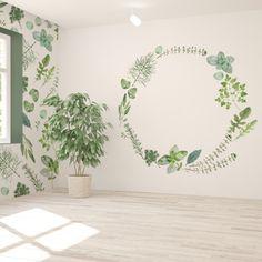 ボタニカルな水彩の壁紙です。 二種類の柄を組み合わせて部屋全体をハーブに包まれたようなインテリアにしてみませんか。 Plant Wallpaper, Lounge, Tapestry, Harajuku, Room, Design, Home Decor, Airport Lounge, Hanging Tapestry