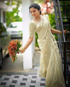 Yet another gorgeous bride in our classic cutwork. Reshma looks full of joy and . - Yet another gorgeous bride in our classic cutwork. Reshma looks full of joy and we are so happy for - Christian Bridal Saree, Christian Wedding Dress, Christian Bride, Christian Weddings, Kerala Wedding Saree, Kerala Bride, Saree Wedding, Marathi Wedding, Bridal Sarees