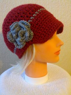 Women's crochet hat with brim, colors of your choice, brimmed beanie hat for women, crochet hat, hat with brim and flower. $19.00, via Etsy.