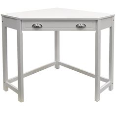This white table is perfect as a computer desk, dressing table or craft table. Wooden Office Desk Features Fantastic compact cornerWooden Office Desk made from MDF with solid wood legs. Its compact nature makes full use of a corner taking of wall space. White Corner Desk, Corner Table, Table Desk, Corner Vanity Table, Retro Furniture, Home Office Furniture, Corner Dressing Table, Dressing Tables, Dressing Room