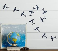 Airplane wall decal for toddler transportation room. Childrens Room Decor, Playroom Decor, Nursery Room Decor, Nursery Ideas, Bedroom Ideas, Playroom Ideas, Wall Decor, Transportation Room, Airplane Nursery