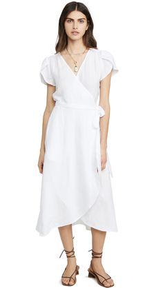 Velvet Posie Dress In White Striped Cardigan, Striped Tee, Velvet Fashion, Satin Top, Summer Wardrobe, Flutter Sleeve, Spring Fashion, Wrap Dress, Cold Shoulder Dress