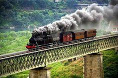 """Old steam train, """"Linha do Douro"""", Portugal. Douro Portugal, Visit Portugal, Portugal Travel, Train Art, By Train, Train Tracks, Algarve, Old Steam Train, Portugal Holidays"""