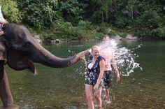 Riding, feeding and washing the elephants in Tangkahan - Sumatra, Indonesia
