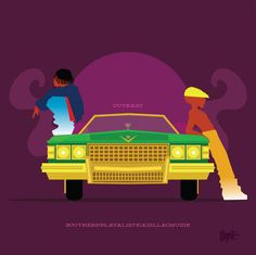 Outkast - Southernplayalisticadillacmuzik | These Illustrations of '90s Black Pop Culture Are Amazing