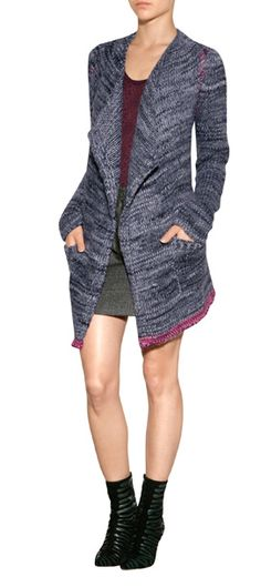 Elegantly+oversized,+this+mixed+knit+cardigan+from+Zadig+